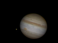 Close view of Jupiter and Io.